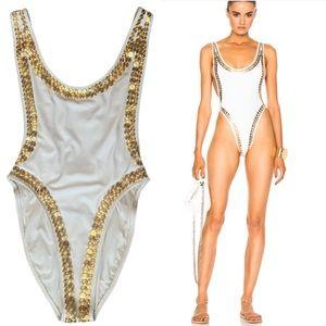 NORMA KAMALI Stud Marissa Swimsuit White & Gold